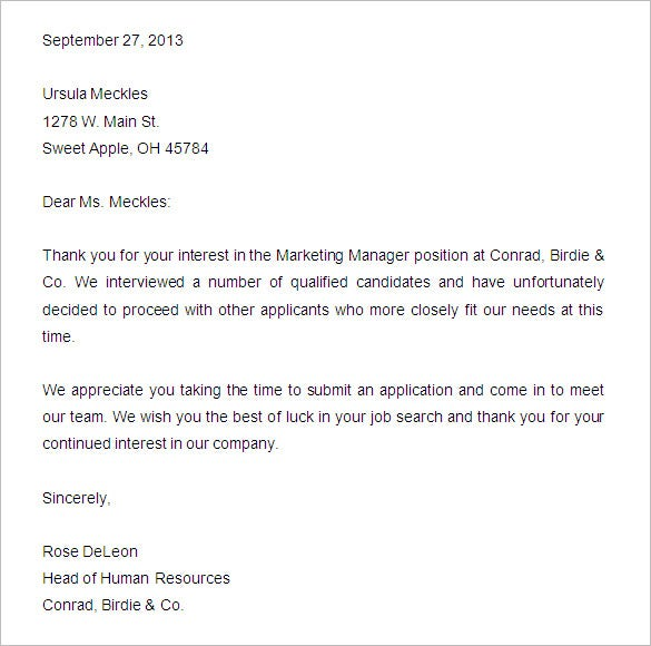 Awesome Applicant Rejection Letter Sample