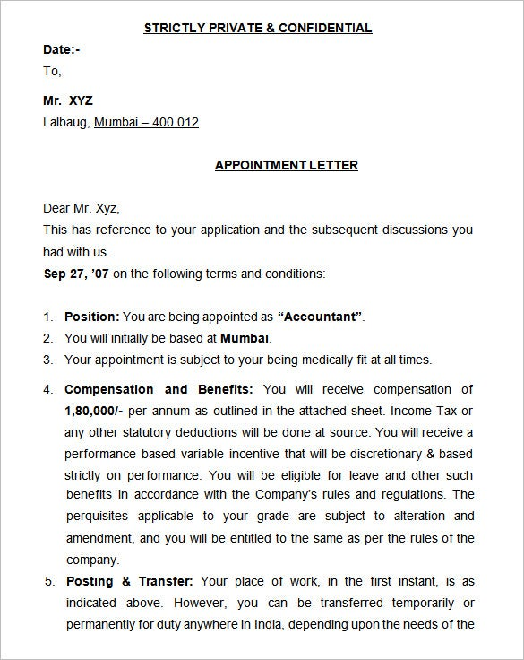 appointment letter – Letter of Debit Note