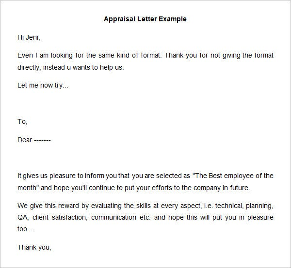 26 sample appraisal letters pdf doc free premium templates appraisal letter template example spiritdancerdesigns Image collections