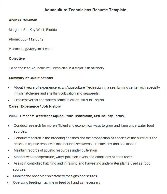 aquaculture technicians resume template