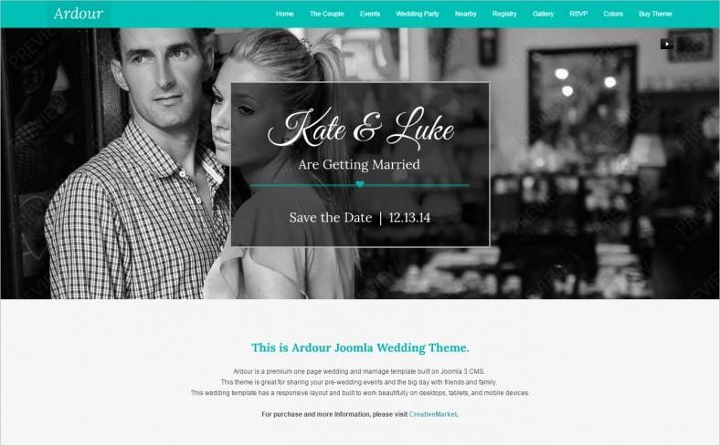 ardour wedding one page joomla theme 788x489