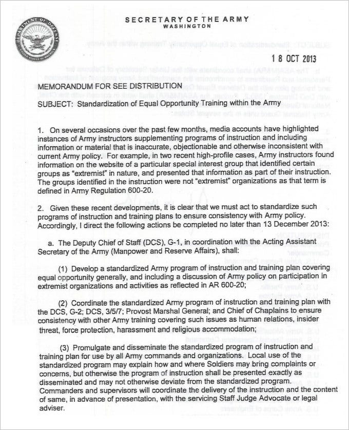 Sample Army Memo Template   Free Pdf Documents Download  Free