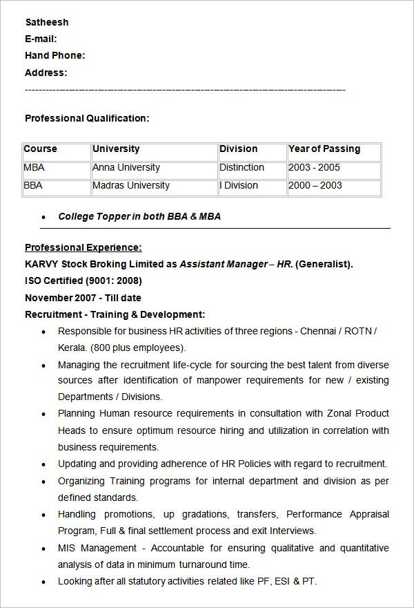 assistant manager hr resume example - Assistant Manager Sample Resume