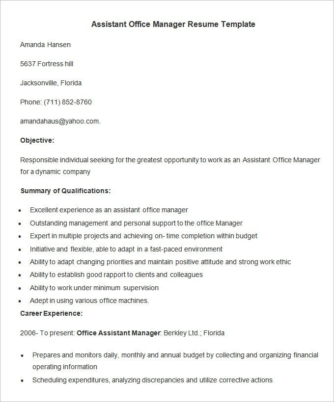 Resume Templates For Office Assistant – Resume Templates for Office Assistant