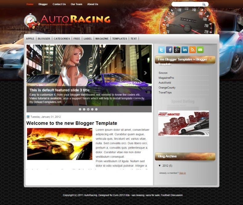 autoracing automobile responsive bloggertemplate 788x664