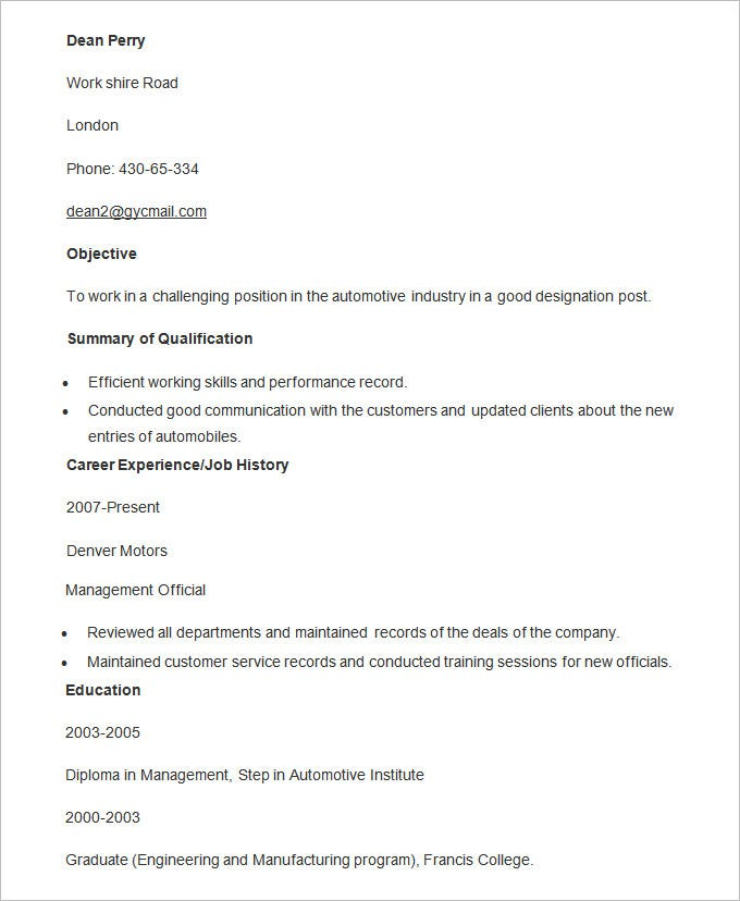 automobile manager resume template - Talent Resume Format