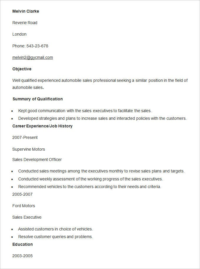 automobile sales resume template