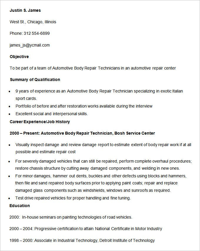 automotive body repair technician resume template - Automotive Technician Resume