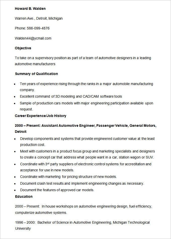 Automobile Resume Template   Free Word Pdf Documents Download