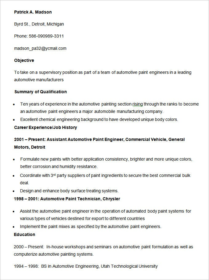 automotive paint engineer template
