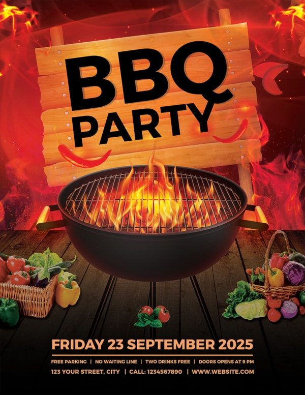 bbq party flyer template1