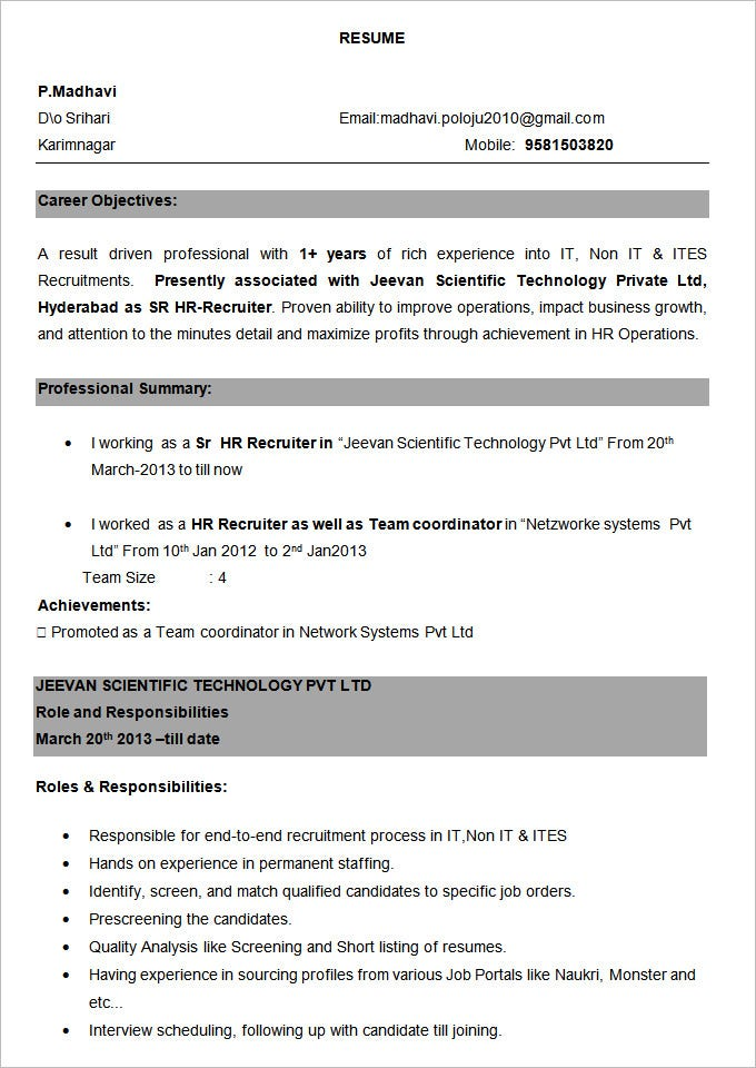 Dot Net 2 Years Experience Resume Format - Resume