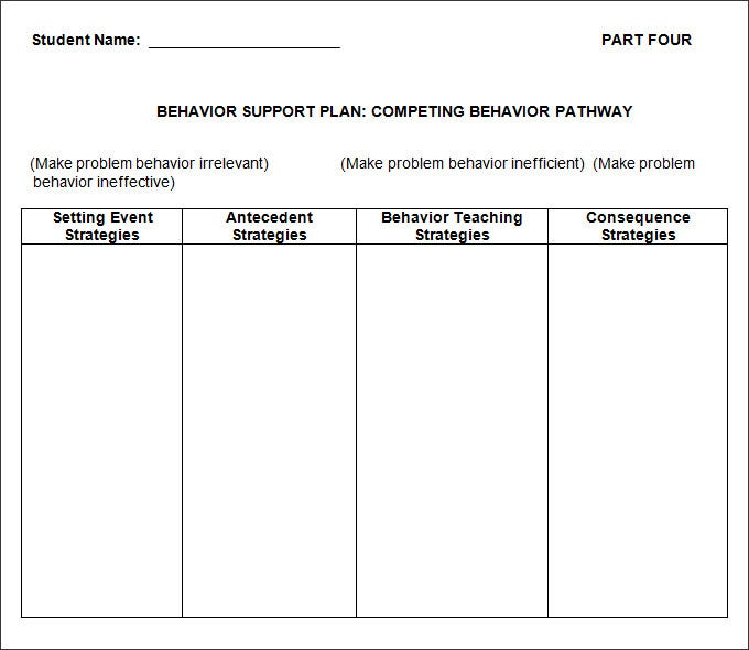 Behavior Plan Template - 3 Free Word, PDF Documents Download ...