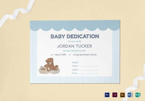 baby dedication certificate template in indesign - Baby Christening Certificate Template