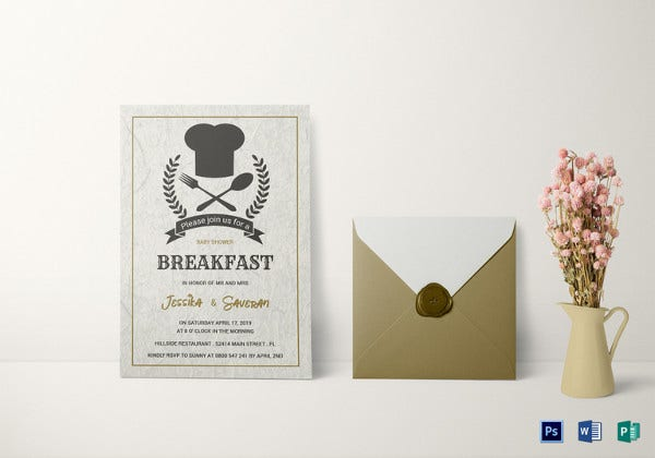 baby shower breakfast invitation photoshop template