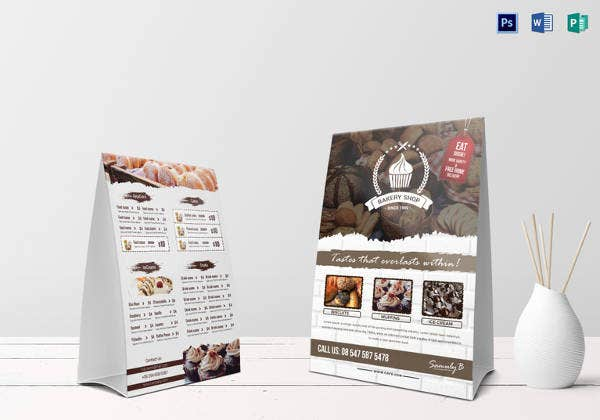 bakery menu table tent template