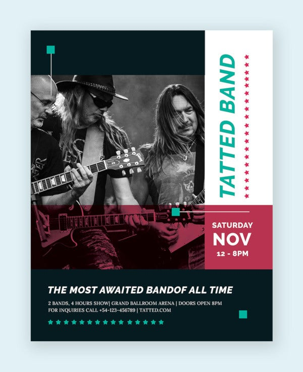 11 psd band flyer templates psd ai publisher apple pages