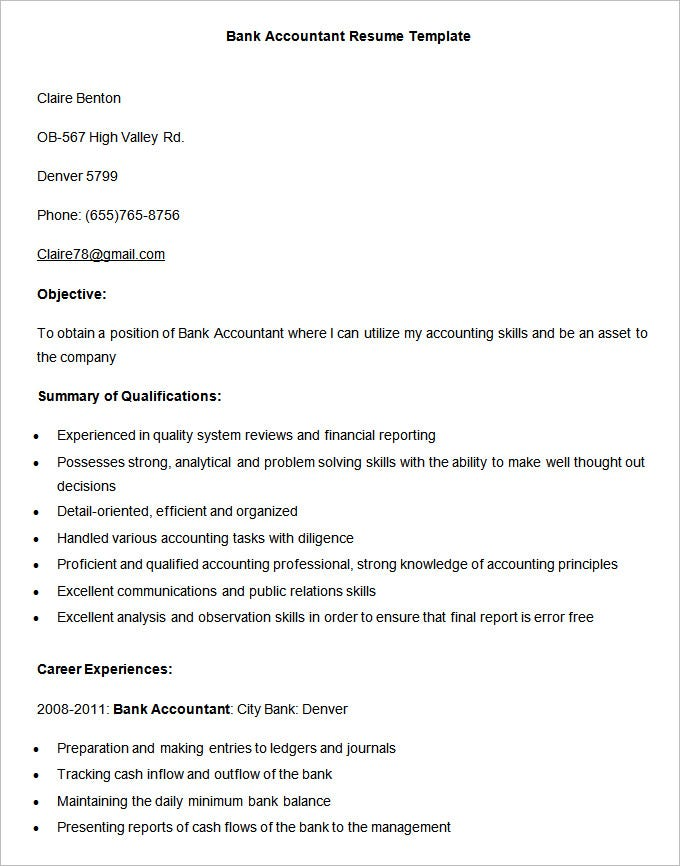 Bank Accountant Resume Template. Free Download