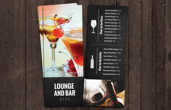 bar and lounge wine menu template