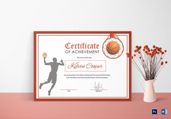 basketball award achievement certificate design