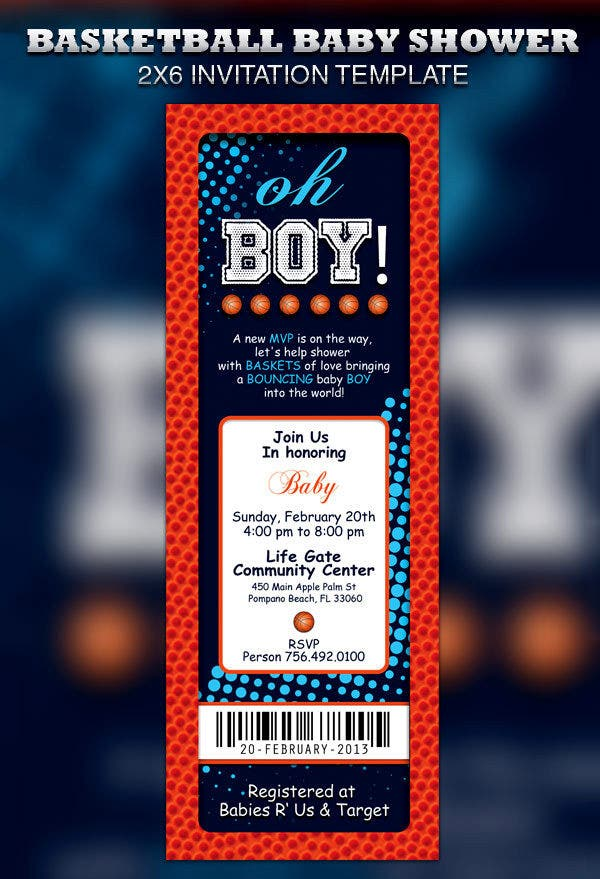 basketball baby shower ticket invitation template