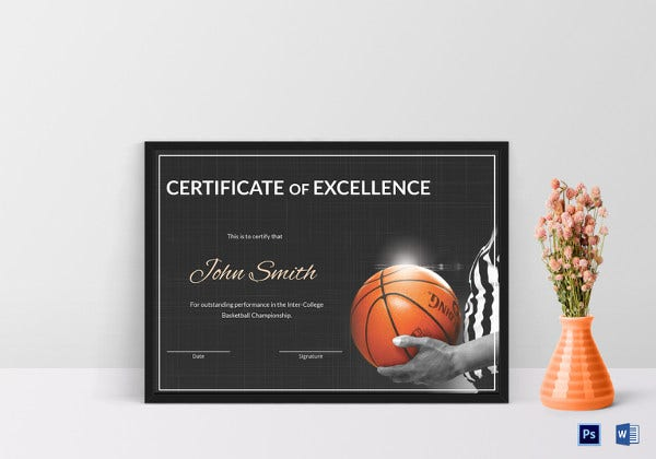 basketball certificate of excellence template