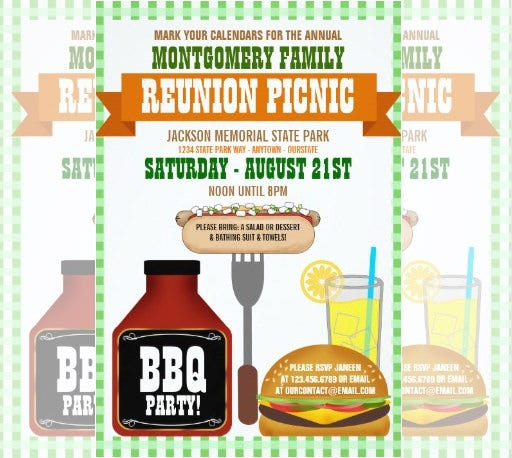 Bbq Family Reunion Invitation Template  Free Printable Family Reunion Templates
