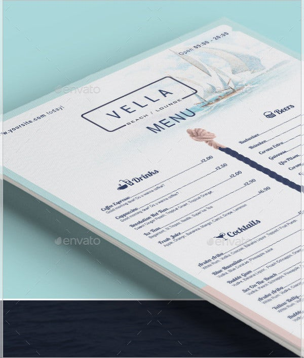 beach bar and dinner menu template