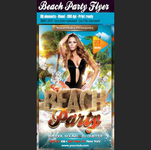 beach party flyer templat