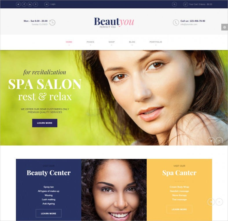 Beauty Hair Spa Salon Wordpress Theme 788x765