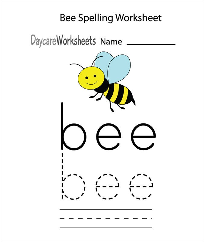 bee spelling practice worksheet template