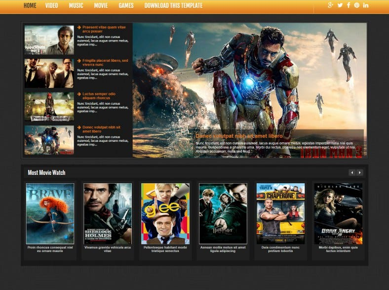 The movie cinema, film & series wordpress theme free preview.