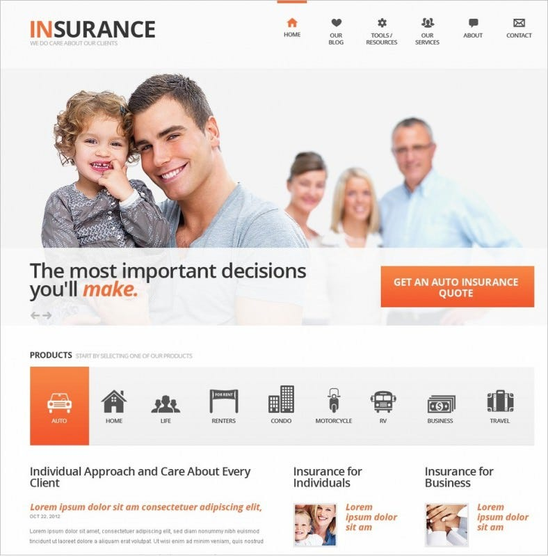 Joomla Template for Insurance Agents – A Policy Seller's Online Market