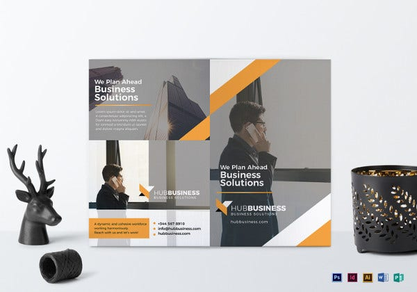 bi fold business brochure word template