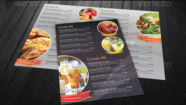 bi fold restaurant food menu template