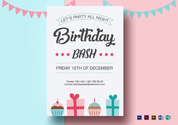 birthday bash flyer photoshop template