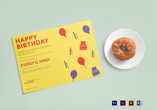 Birthday Gift Certificate Word Template  Happy Birthday Word Template