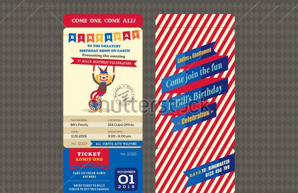 birthday invittion with ticket boarding pass style template