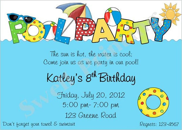 Pool Party Invitations Pool Party Invitation Sample Pool Party