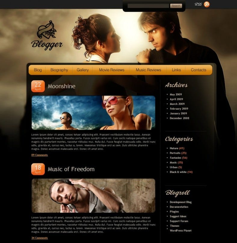 black blogger psd template 50 788x807
