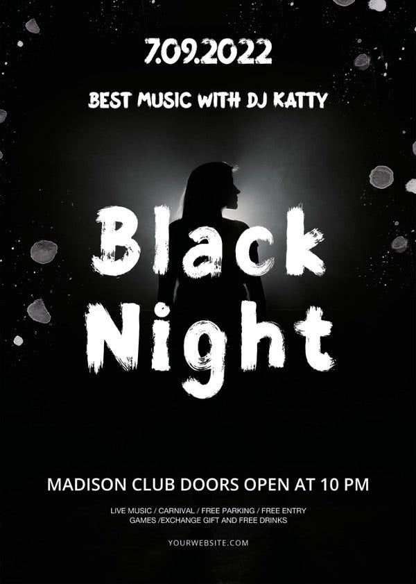 black night flyer template