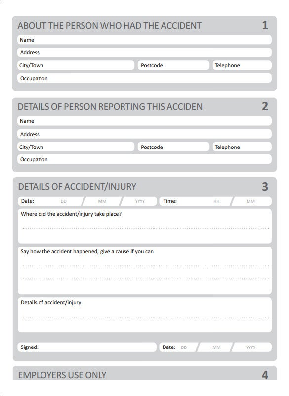 Blank Accident Report Template  Free Printable Incident Reports
