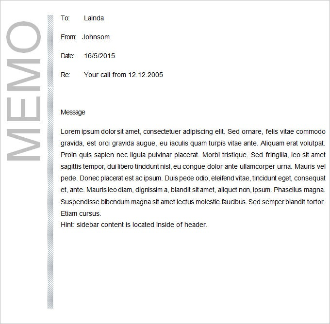 Memo Template Sample Memo Template  Casual Memo Letter Template