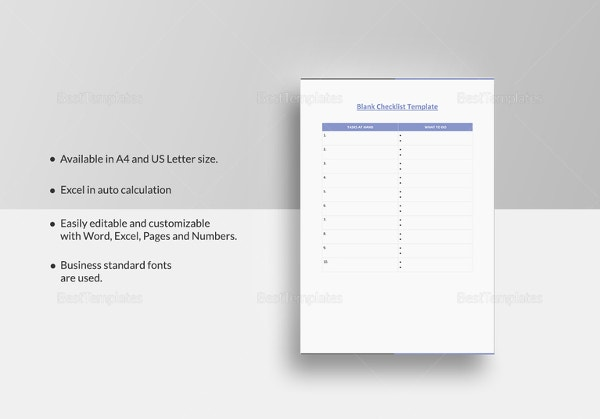 blank checklist templat