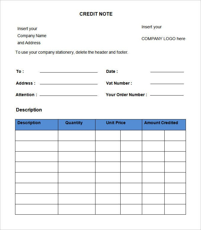 Blank Credit Note Template