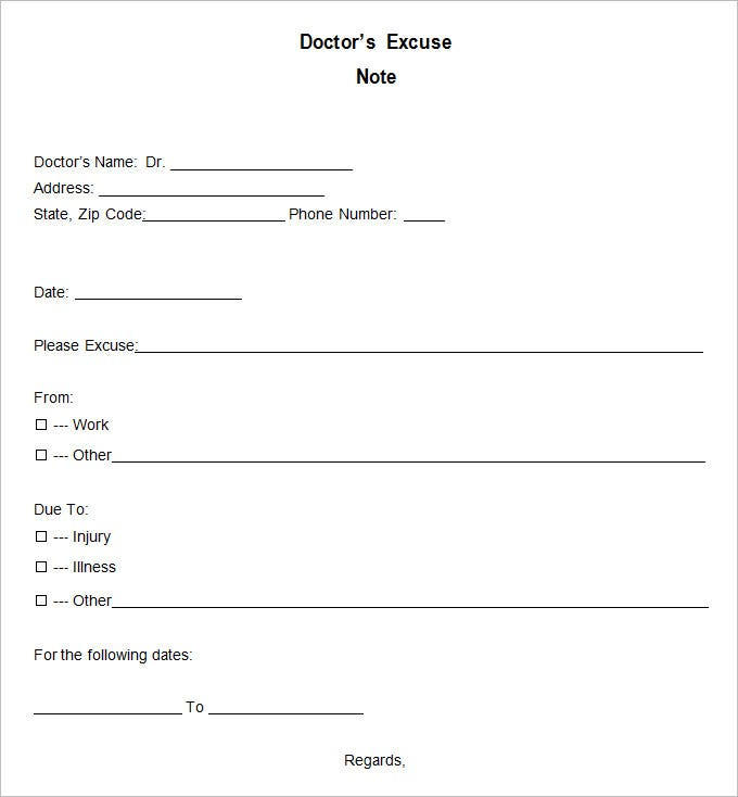 Blank Doctors Excuse Template