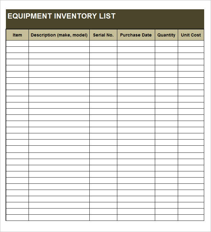Equipment Inventory Template   Free Word Excel  Documents