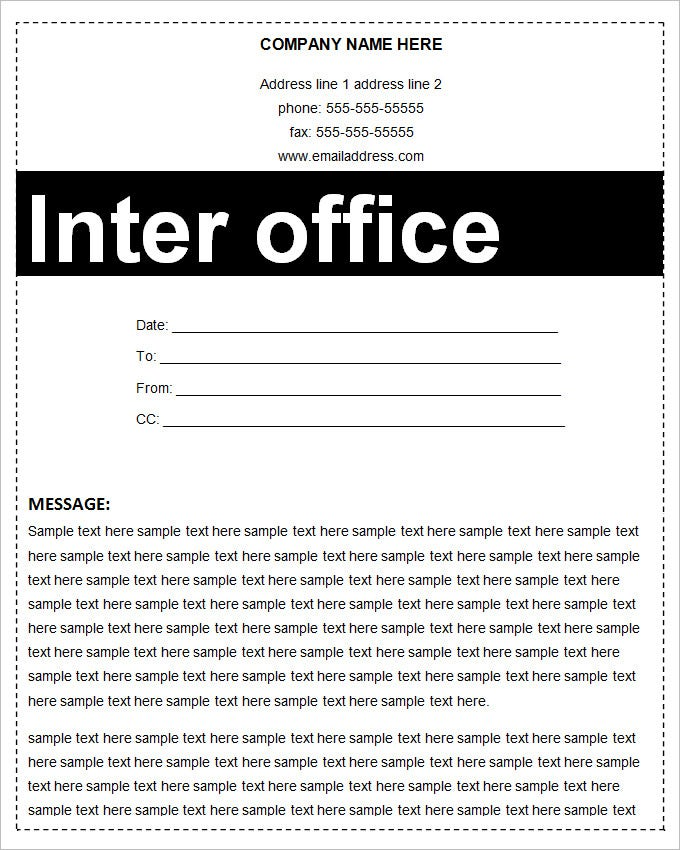blank inter office memo template