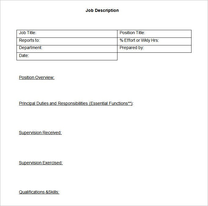 55 hr job description templates hr templates free for Creating job descriptions template