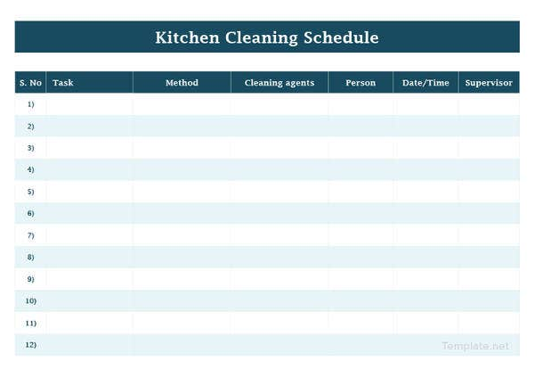 blank kitchen cleaning schedule template